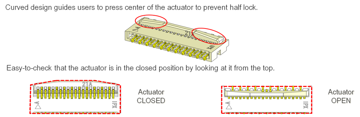 Half-lock Prevention with Curved Actuator Design